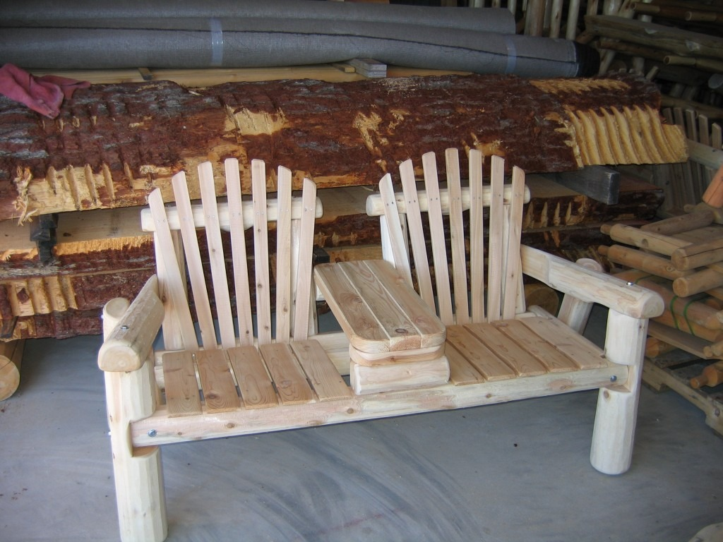 Wooden 2 Person Chair Bench With Center Console
