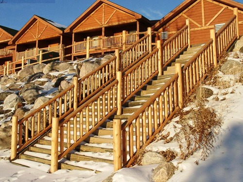 Outdoor log staircases