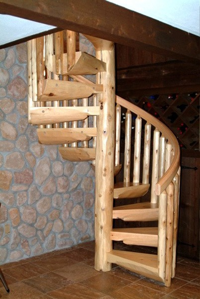 Wood Spiral Staircases Ryan S Rustic Railings Furniture In Orr Mn