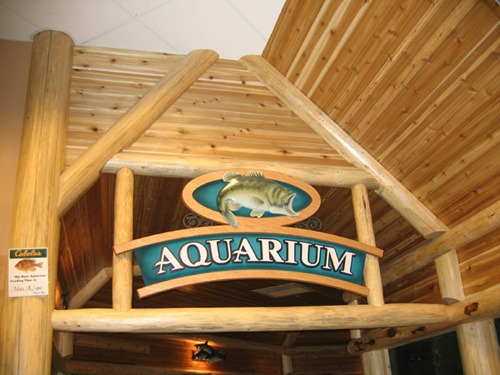 Custom log Aquarium sign entrance for Cabela's
