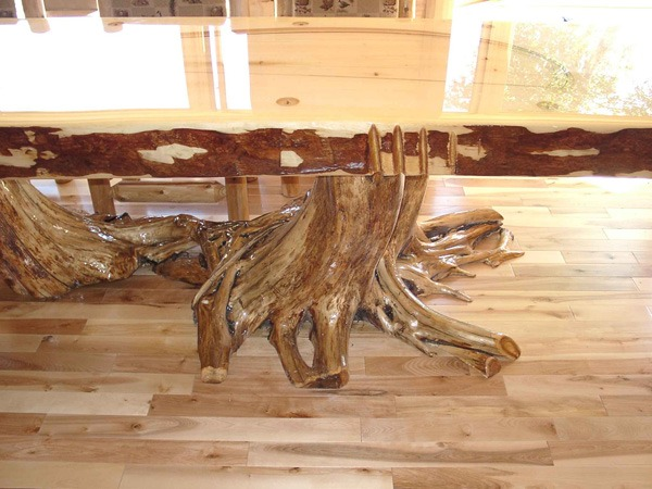 Custom White Cedar Flared Table Base and Pine Timber Top