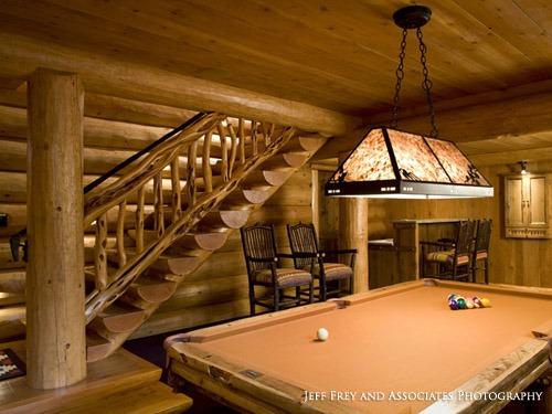 log staircases | billard room | Wood Stair Railings