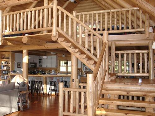 log rustic staircases | log cabin woodwork by Ryan's Rustic Railings | Wood Stair Railings