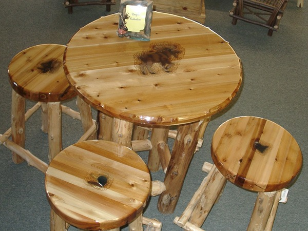 rustic table and stool set
