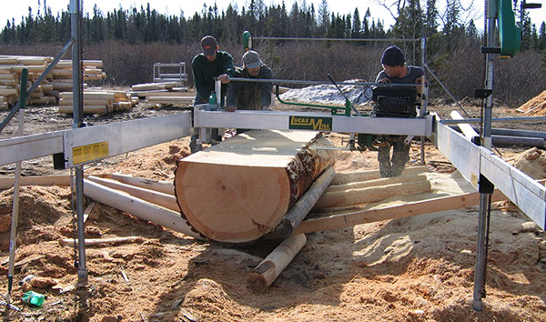 prepping large timber logs for custom jobs