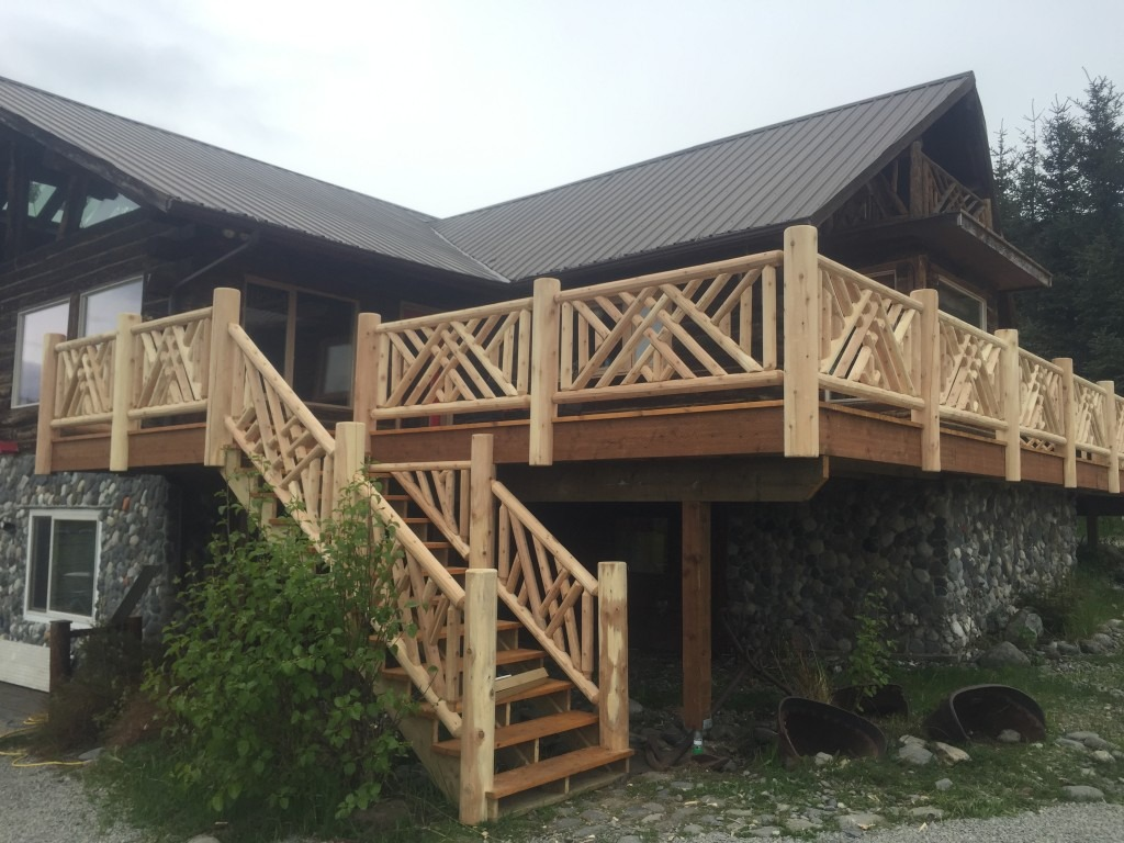 Custom Log Railing And Stairs For Outdoor Deck In Home Alaska