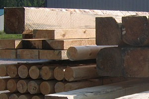 Logs for corners, slabs, and trim