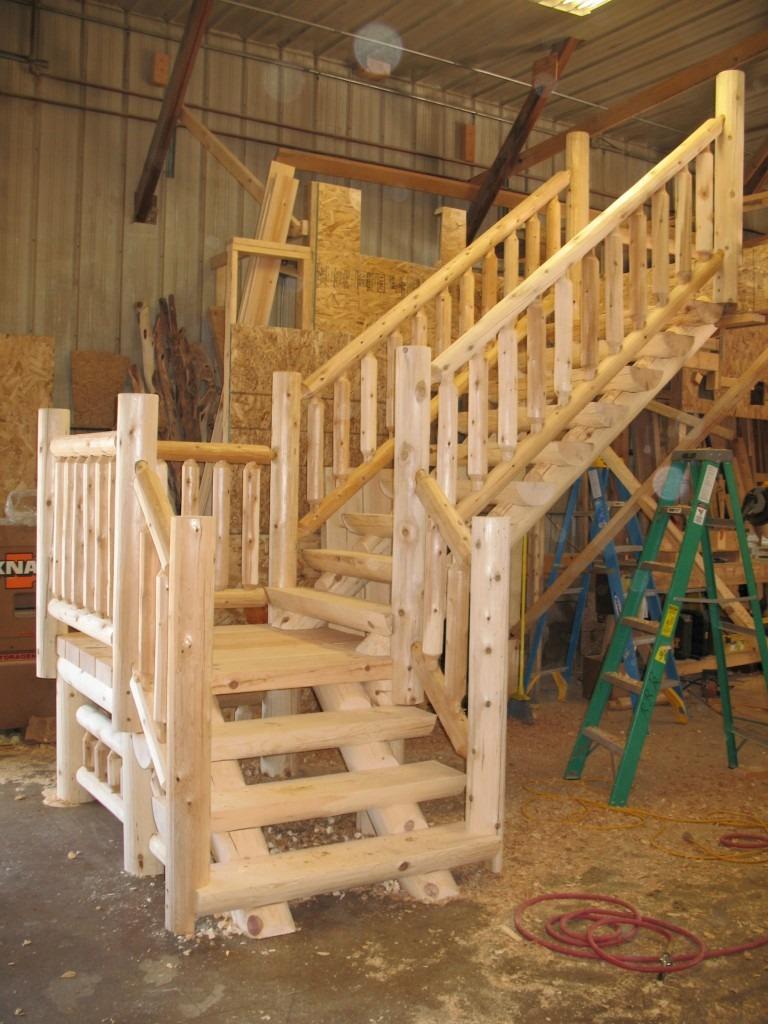 Log Rustic Staircases Ryan S Rustic Railings Orr Mn