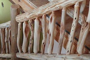 Diamond willow staircase railing